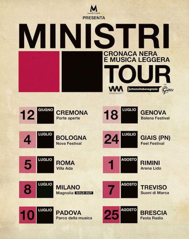 E' partito il tour estivo dei Ministri: ecco tutte le date...