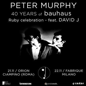 Peter Murphy si esibirà il prossimo autunno a Roma e Milano per festeggiare i 40 anni dei Bauhaus